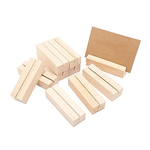 Tarjetero 10 PCS Titular de la tarjeta de presentación de madera Clips de nota de madera Foto Titular de la foto Soporte de la tarjeta de negocios Vertical Tarjeta de visita Organizador de escritorio
