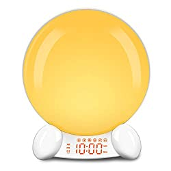 DreamSky Digital Alarm Clock Radio - Wake Up Light Clock for Bedroom with FM Radio/Natural Sound/Sleep Aid White Noise, USB Port, 20 Level Nightlight, 7-Color Light, Display Dimmer, Snooze, 12/24H