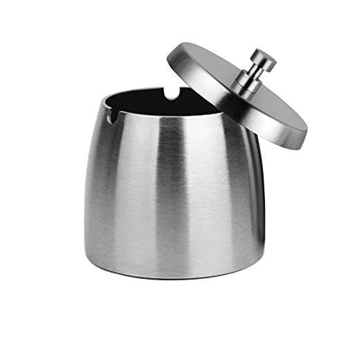 OILP Outdoor Ashtray with Lid for Cigarettes,Stainless Steel Windproof/Rainproof Ashtray for Patio Outside Home Tabletop(Small)