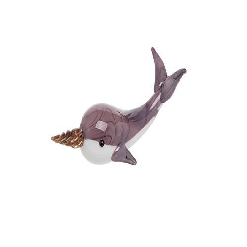 Beachcombers B22485 Mini-Figur Narwal, Glas, 2,7 cm hoch, Violett