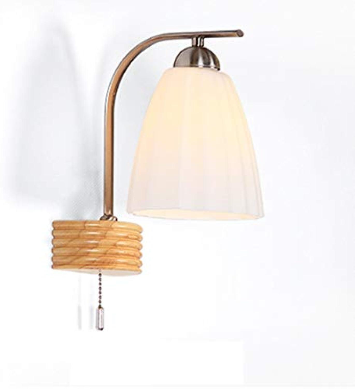 LED Nordische Wandlampe Massivholz Zugschalter Wohnzimmer Schlafzimmer Gang Wand Lampe im japanischen Stil Holz Wandleuchte
