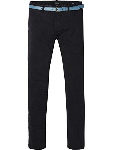 Scotch & Soda Herren Classic Garment Dyed Chino Pant in Stretch Cotton Quality Hose, Schwarz (Black 0008), 33/32