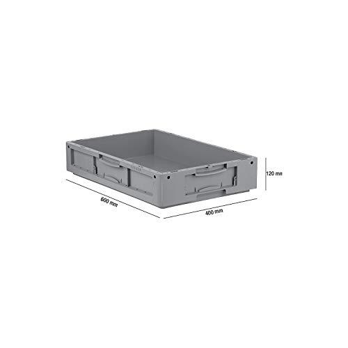 SSI Schäfer LTB 6120 Eurokiste Kunststoffbox Transportbox ohne Deckel, 600x400 mm, 20,3 l, 50 Kg Tragkraft, Made in Germany, Grau