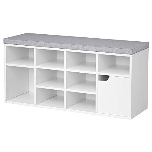 LGHM Shoe Storage Bench, Entryway Bench with Shoe Storage,3-Tier Shoe Rack Bench with Adjustable Shelf, Ideal for Entryway Livingroom Bedroom or RV, White