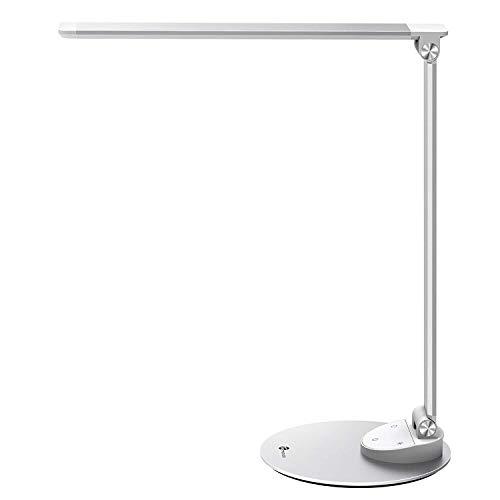 Lampada da Scrivania TaoTronics Lampada Tavolo LED con USB di ricarica per Smartphone, lega di alluminio, Touch Control, funzione di memoria, 5 temperature di colore & 5 livelli di luminosità-Argento
