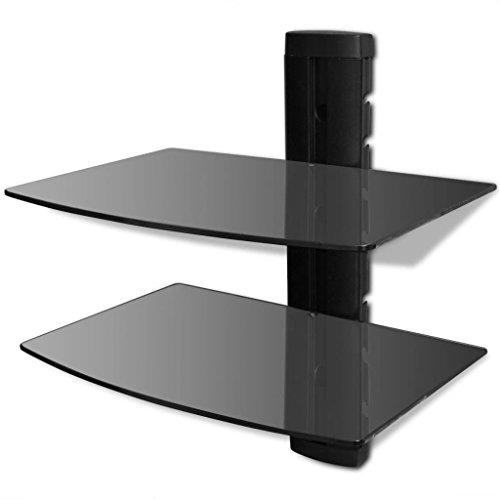 fzyhfa Soporte con 2estantes de Vidrio Montaje en Pared para DVD Negro diseño Simple y práctico, Estable y Duradera Puerto Mobile Mueble para CD