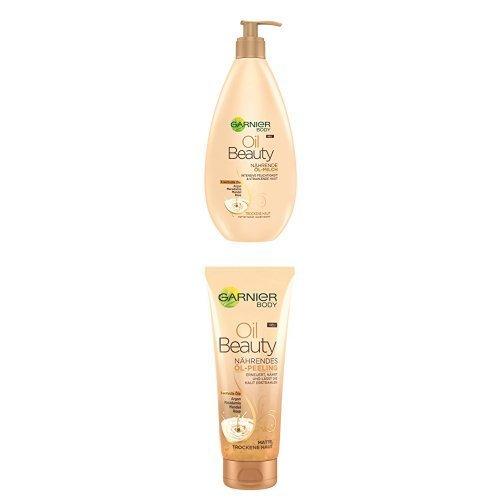 Garnier Oil Beauty Nährende Öl Milch, 400 ml + Öl Peeling, 200 ml, je 1er Pack