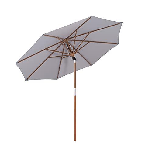 Sekey® Sonneschirm 300 cm Holzmaserung-Sonnenschirm Marktschirm Gartenschirm Terrassenschirm Rund UV50+