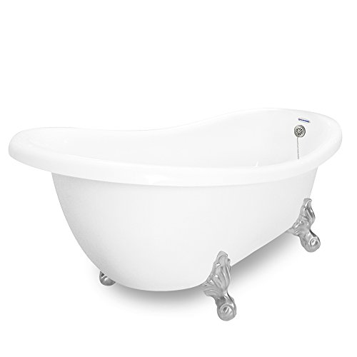 Save %26 Now! American Bath Factory Churchill 71 White AcraStone Tub & Drain, 7 Faucet Holes