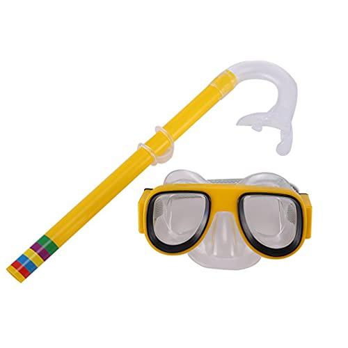 SeniorMar-UK Juego de Gafas de natación y Gafas de Buceo para niños, Equipo de Entrenamiento, antivaho, Traje de Tubo de respiración Duradero, Amarillo