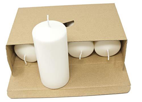 Coraz Home Set von natürlichen Stumpenkerzen Duftloses natürliches Wachs Paraffinfrei Natürliche weiße Kerzen Nachtlichter Kunststofffrei in Kraftbox (Set mit 4 Stumpenkerzen - 60 mm x 130 mm)
