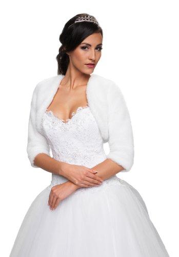 Damen Kunstfell-Jackett, passend zu Brautkleidern, leichtgewichtig und weich, 3/4-Ärmellänge, vollständig gefüttert Gr. L, weiß