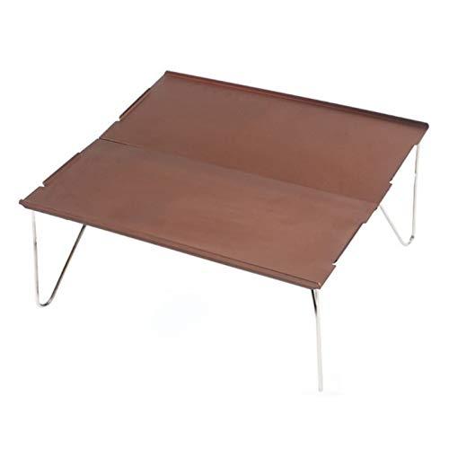 LYLY Mesa portátil ultraligera para senderismo, camping, mesa de aluminio, plegable, mesa de camping, fácil de llevar, uso en el hogar (color: café)