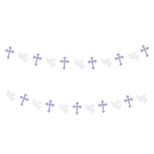 Oblique-Unique® Girlande mit Kreuzen & Taube Dekoration Taufe Konfirmation Hochzeit