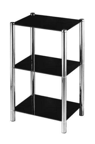 Premier Housewares - Estantería con 3 estantes de Cristal (70 x 41 x 31 cm), Color Negro y Cromo