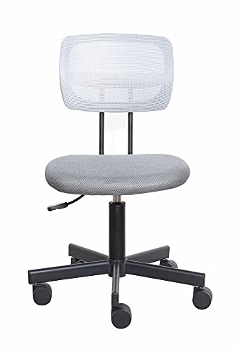 SpecStandard 858-W Flexible Series Office Chair Working Window Consulting Secretary Height Adjustable Breathable Soft Seat Pad Dazzling Grey, 3D White Mesh Back, 55㎝W×52㎝D×90㎝H-97㎝H
