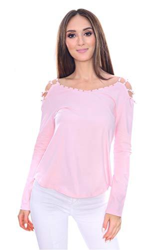 Damen Bluse Oberteil Langarm T-Shirt Elegant Schulterfrei Top Strass, 9409 Puderrosa 2XL/3XL