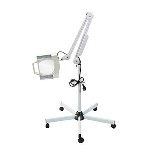 3X LED Quadratischer Kopf Lupe Stehleuchte Einstellbarer Biegearm Vertikale Stehleuchte zum Hautpflege Beauty Maniküre-Tätowierung Salon Spa mit Bodenstativhalterung
