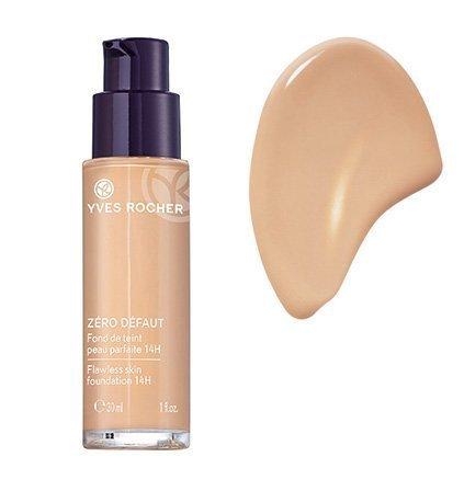 Yves Rocher COULEURS NATURE Make-up-Fluid PERFEKTE HAUT 14h Rosé teint clair, deckende Foundation, 1 x Glas Pump-Flacon 30 ml