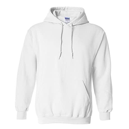 Gildan Adult Heavy Blend Hooded Sweatshirt (White) (Medium)