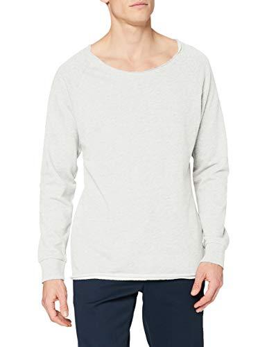 Urban Classics TB1012 Herren Sweatshirt Long Open Edge Terry Crewneck, Gr. Medium, Weiß (offwhite melange 700)