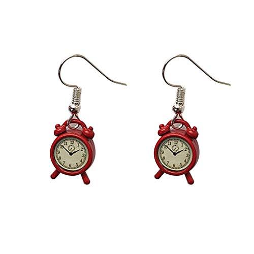 Qinghengyong Oído del Regalo del Aniversario de Alarma Historieta de Las Mujeres Mini 3D del Reloj del Partido Pendiente de la Muchacha del Gancho de la joyería Femenina