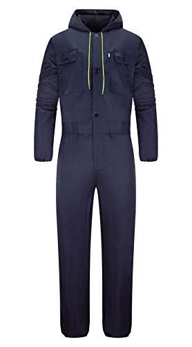Yukirtiq Herren Herren Baumwolle Arbeitsoverall Schutz-Latzhose Arbeitskleidung mit vielen Taschen Arbeitskleidung für Handwerker (Navy blau, XL)