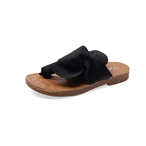 JXILY Sandalias De Las Mujeres del Bowknot Planas Sandalias De Los Deslizadores, Señoras Dedo Gordo del Hueso del Dedo del Pie Ortopédico Calzado Casual Anillo Retro Zapatos Sandalias,Negro,38