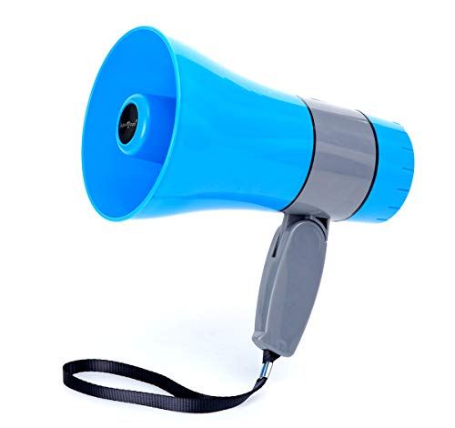 japomizuno Bullhorn/Rechargeable Megaphone Speaker with 240's Recording,Siren,U-Disk Player, 800 Yard Range, Rechargeable Battery Included Blue