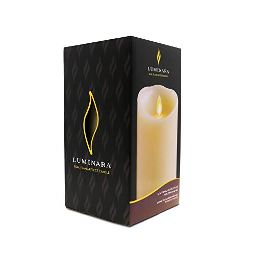 Luminara Flameless Pillar Candle (7-Inch, Ivory White); Moving Flame LED Battery-Operated Vanilla Scented Candle