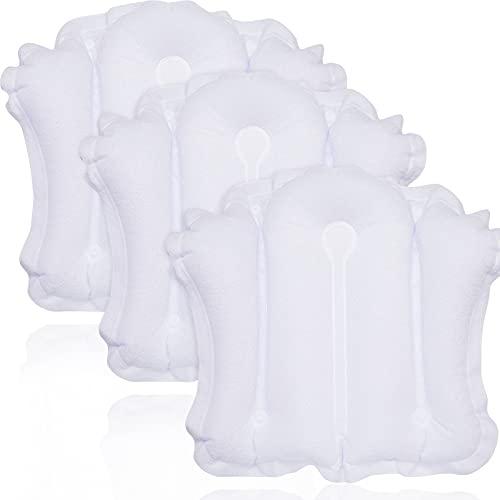 3 Piezas Almohadas de Baño Inflables Grandes para Bañera Almohada de Baño de Tela Felpa Almohada de Spa con Soporte de Cuello con Ventosa para Bañera Jacuzzi, Blanco