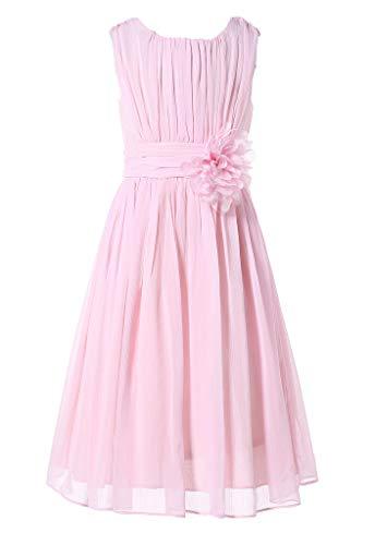 HAPPY ROSE Juniorbrautjungfernkleid Abschlussball-Partykleid Chiffon Blush Pink 12_Jahre