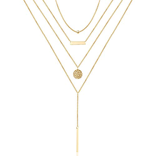 Turandoss Bead Choker Bar Necklace Hammered Disc Necklace Gold Bar Layered Necklace Simple Layering Jewelry Pendant Necklace for Women Girls