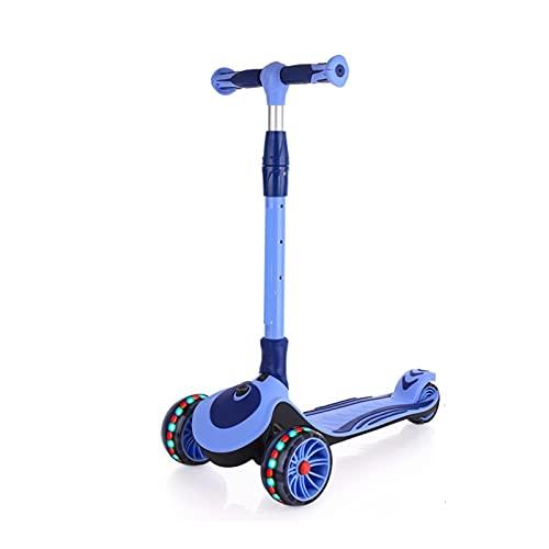 WANGYIYI Scooters para niños Patinete Plegable de 3 Ruedas con un Solo Clic Patinetes de Ajustables en Altura de 3 velocidades con Rueda Intermitente Ancha Resistente al Desgaste (Color : Blue)