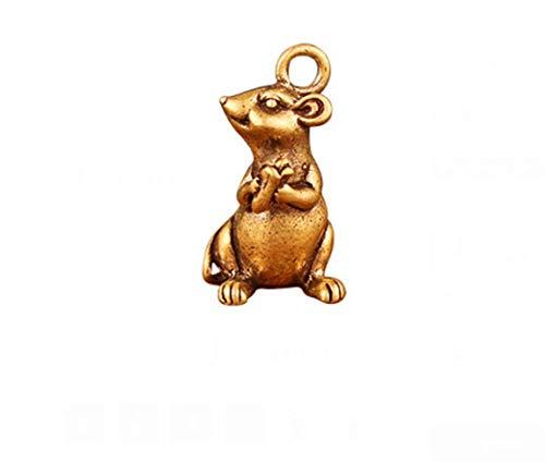 KKUUNXU Creative Lucky Miniature Brass Rat Feng Shui Rat Pendant Ornament Mouse Statue Home Car Office Desk Table Decoration