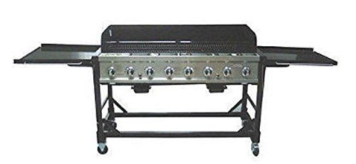 RANKAM Commercial LP Gas Portable 8-Burner Event BBQ Grill w/PVC Fitted Cover a Accessories Cooking Outdoor Products Service Tools with