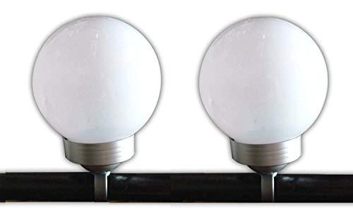2 x Balkon Solarleuchte Solarlaterne Solarlampe Solar LED Kugel für Geländer Balkongeländer je 4 LED