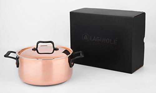 Laguiole - Olla de cobre inoxidable serie Prestige (calidad profesional) 24 cm plata