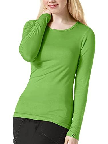 WonderWink Women's Scrubs Silky Long-Sleeve T-Shirt, Green Apple, Medium