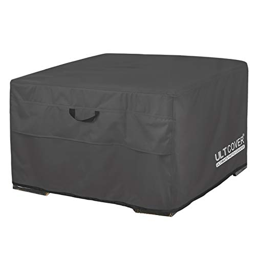 ULTCOVER Patio Fire Pit Table Cover Square 32 inch Outdoor Waterproof Fire Bowl Cover, Black