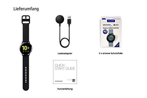 Samsung Galaxy Watch Active2 Explorer Edition, Fitnesstracker aus Aluminium, großes Display, ausdauernder Akku, wassergeschützt, 40 mm, inklusive 2x araree , LTE, Schwarz