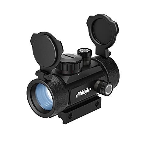 Aomekie Airsoft Viseur Point Rouge/ Vert 5 Niveaux de Luminosité Lunettes de Visée Tactique Adaptable à 11mm / 20mm Rail avec Flip Up Couvercle de Lentille