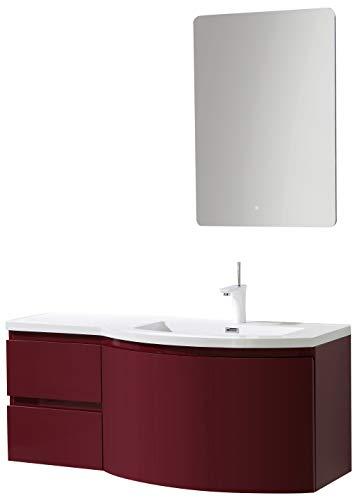 Badmöbel-Set LAURANCE 1200 Bordeaux Hochglanz - geschwungene Form, Spiegel:Ohne Spiegel, Ausführung:Waschbecken RECHTS