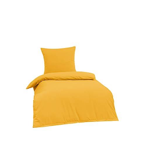 BRIELLE Bettwäsche 155 x 220 cm - Bettwäsche-Set Renforce Gelb, hohe Qualität, weich, einfarbig mit Öko-Tex-Zertifizierung, 1200