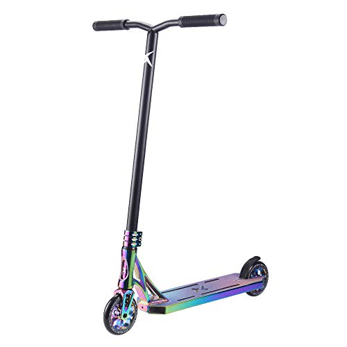 """XSKIP Pro Scooter Trick Scooters for Teens, Kids and Adults, with 120mm Aluminum Core Wheels, Total Height 36"""" Rainbow"""