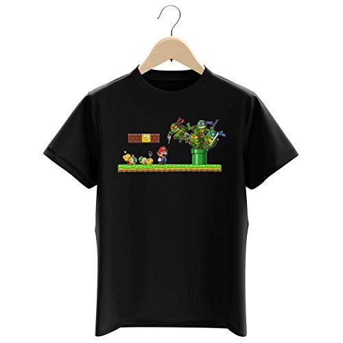 T-shirt Enfant Garçon Noir parodie Tortues Ninja - Super Mario - Leonardo, Raphael, Donatello, Michelangelo et Mario - La revanche des Tortues (Super Deformed Edition) (T-shirt enfant de qualité p