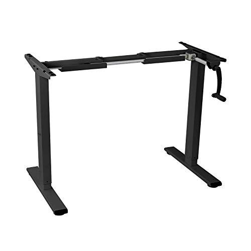 FLEXISPOT Höhenverstellbarer Schreibtisch mit Kurbel, Stahl, schwarzer Rahmen, 101,6 cm