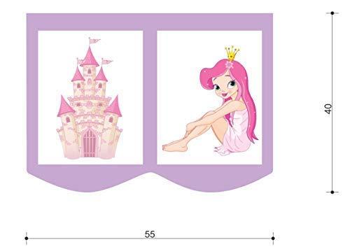 XXL Discount Taschenset für Kinderbett, Hochbett Spieltasche Bett-Tasche für Kinderbett 55 x 40 cm, 100% Baumwolle Bettzubehör Stofftasche (Violett/Weiß, Prinzessin)
