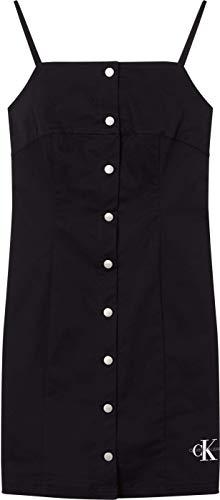 Calvin Klein Jeans Damska bawełniana sukienka z guzikami o splocie skośnym