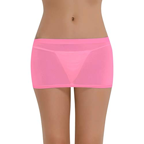 TiaoBug Damen Basic Transparent Rock Kurz Bleistiftrock Unterrock Dessous Lingerie Super Weich Stretch Etui Minirock Skirt Bodycon Nachtwäsche in 6 Farben zur Auswahl Rosa One Size